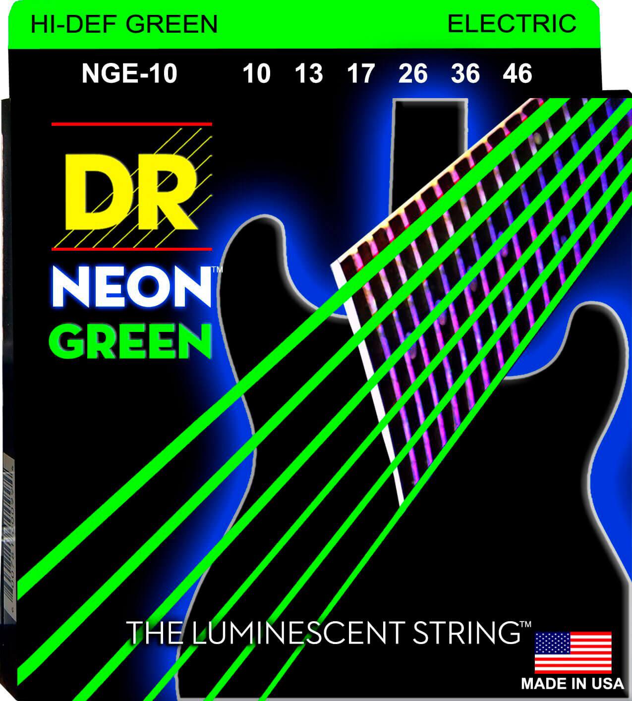 Jgo.Cuerdas Guitarra Eléctrica Dr Nge-10 Neon Green 10-46
