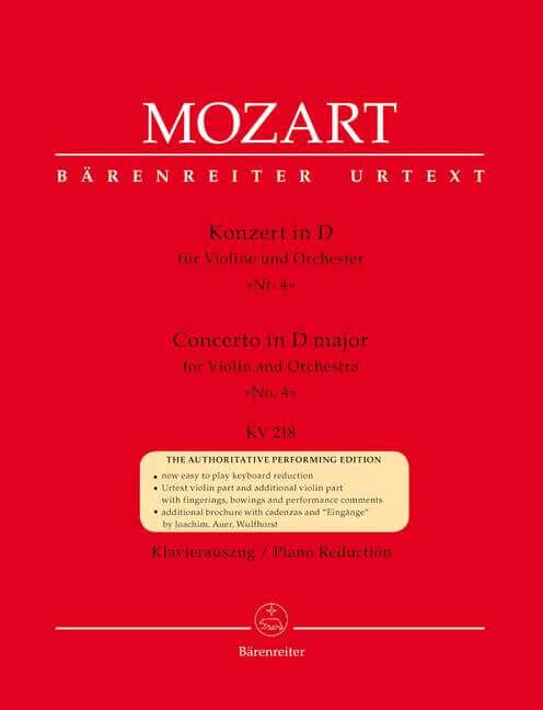 Concerto for Violin and Orchestra No. 4 D major KV218. Reduc