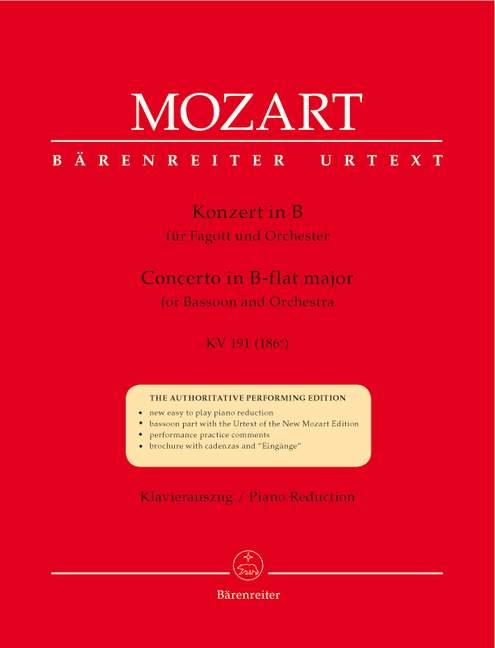 Concerto for Bassoon and Orchestra B flat major KV191(186e).