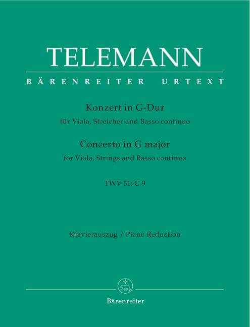Concerto for Viola, Strings and Basso continuo G major TWV 5 Red.Piano .Telemann