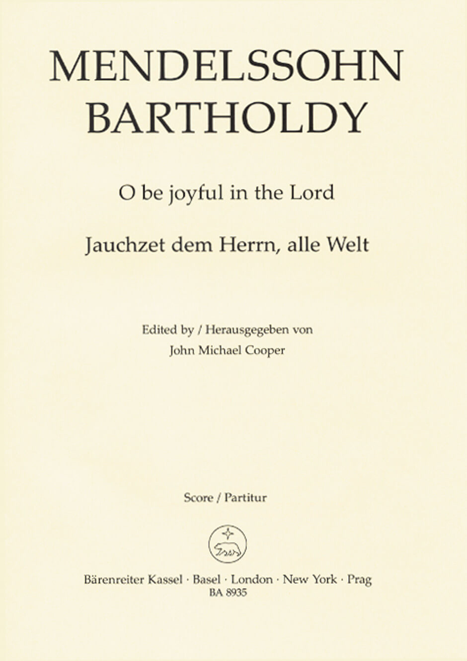O be joyful in the Lord Op.69 Coral