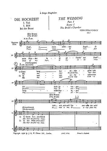 Les Noces (Chorus Part- English/German).Stravinsky