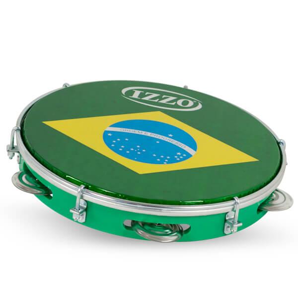 Pandeiro 10 Abs P/Brasil Izzo Iz3438. Verde