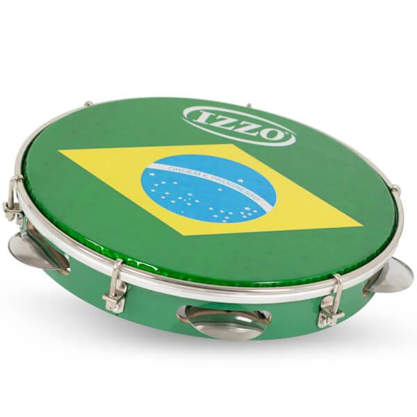Pandeiro 10 Madera P/Brasil C/Agarre Iz3400. Verde