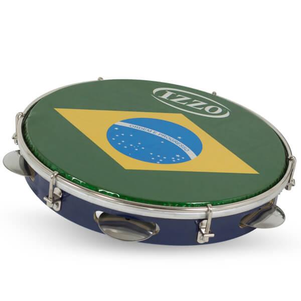 Pandeiro 10 Madera P/Brasil C/Agarre Iz3400. Azul