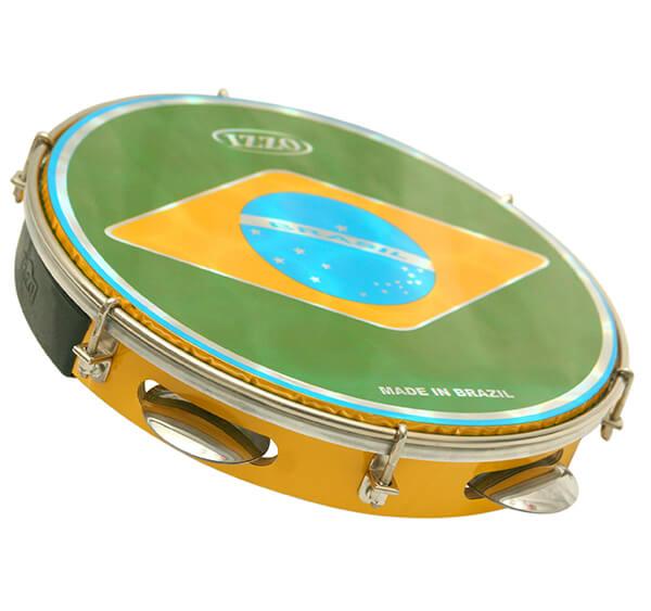 Pandeiro 10 Madera P/Brasil C/Agarre Iz3400. Amarillo