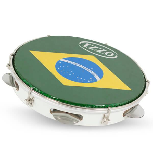 Pandeiro 10 Madera P/Brasil C/Agarre Iz3400. Blanco