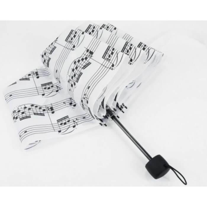 Mini Paraguas Plegable Notas Blanco. U-2001