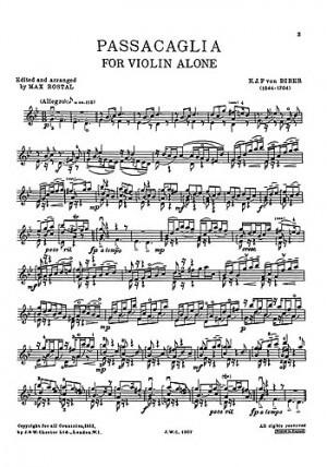 Passacaglia For Violin. Biber