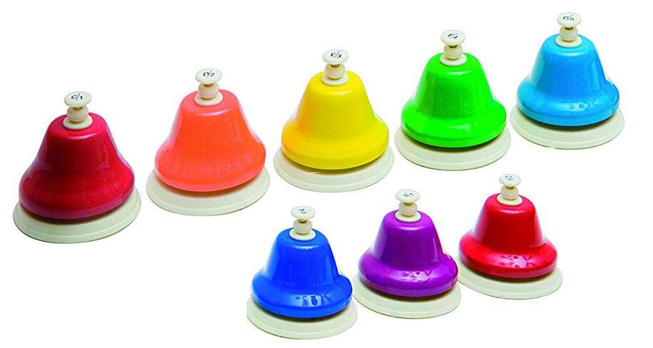 Juego de 8 Campanas de pulsar. Diatónicas. Colores