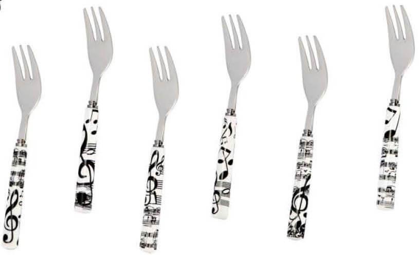 Set de 6 tenedores con motivos musicales