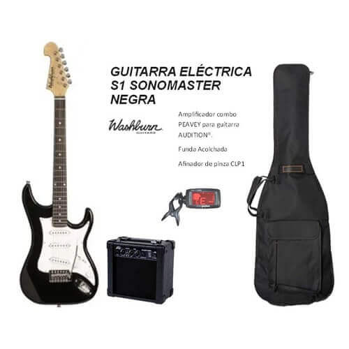 Pack Guitarra Eléctrica Washburn S1 Sonomaster Negra