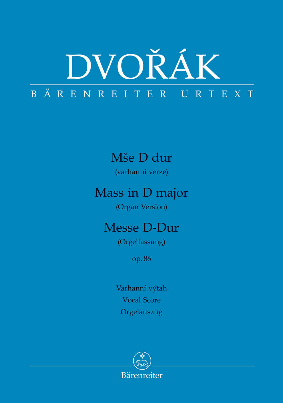 Mass for Soloists, Choir and Organ D major Op.86. Organ version