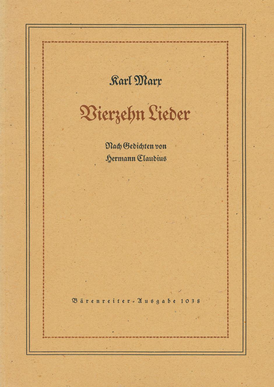 14 Lieder auf Texte von Hermann Claudius Op.26