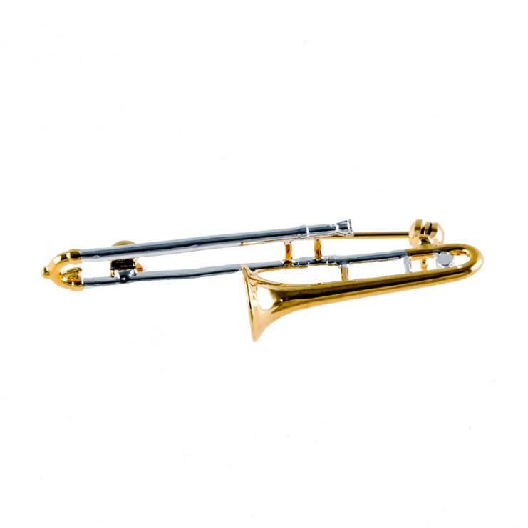 Broche 3D dorado combinado trombón