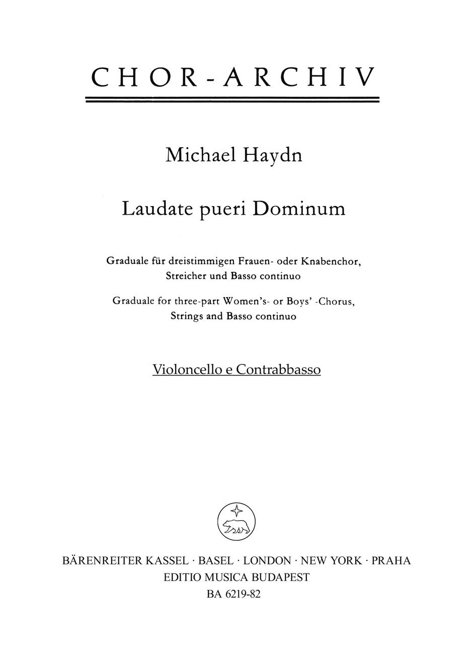 Laudate Pueri Dominum. Violoncello-contrabajo. Michael Haydn