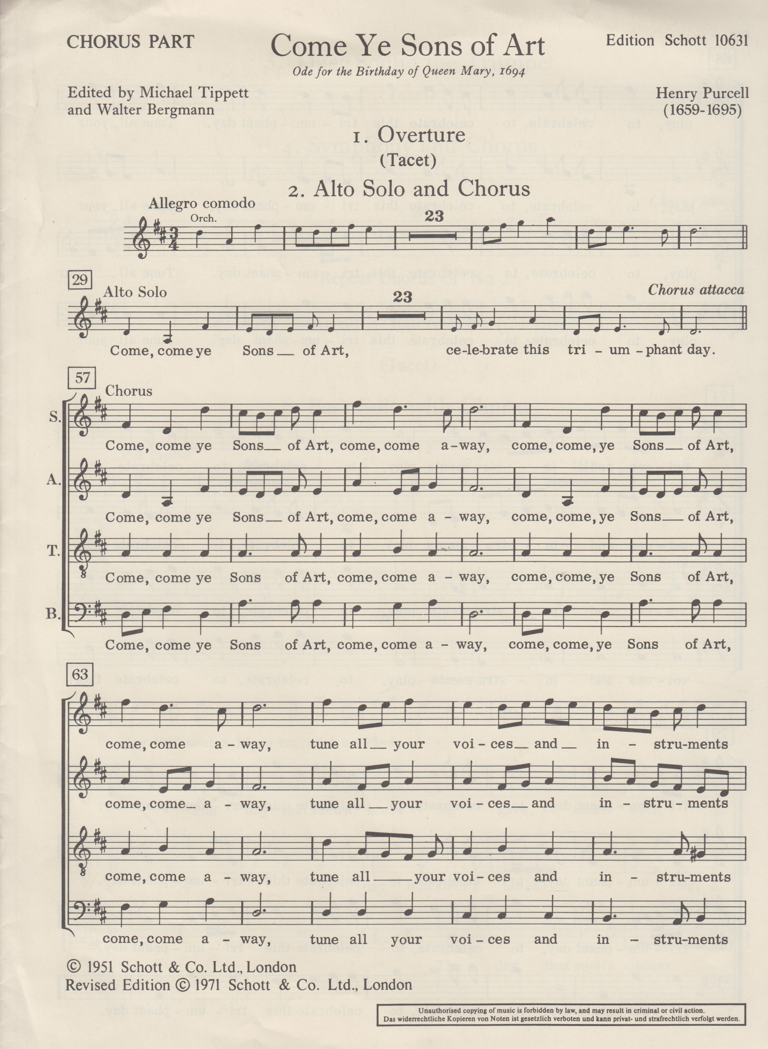 Come Ye Sons Of Art (SATB). Purcell